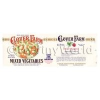 Dolls House Miniature Clover Farm Mixed Vegetables Label (1920s)