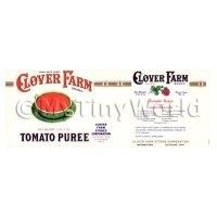 Dolls House Miniature Clover Farm Tomato Puree Label (1920s)