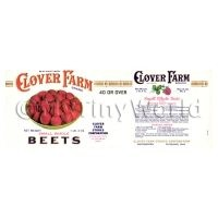 Dolls House Miniature Clover Farm Small Whole Beets Label (1920s)