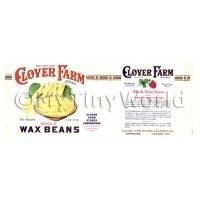 Dolls House Miniature Clover Farm Wax Beans Label (1920s)