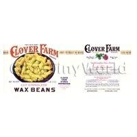 Dolls House Miniature Clover Farm Stringless Wax Beans Label (1920s)