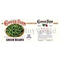 Dolls House Miniature Clover Farm Green Beans Label (1920s)
