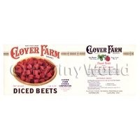 Dolls House Miniature Clover Farm Diced Beets Label (1920s)