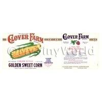 Dolls House Miniature Clover Farm Golden Sweet Corn Label (1920s)
