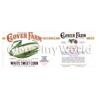 Dolls House Miniature Clover Farm White Sweet Corn Label (1920s)