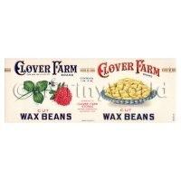 Dolls House Miniature Clover Farm Cut Wax Beans Label (1920s)