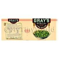 Dolls House Miniature Grays Lima Beans Label (1930s)