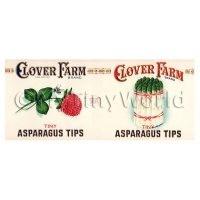Dolls House Miniature Clover Farm Asparagus Tips Label (1920s)