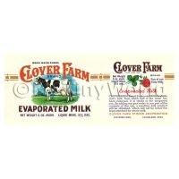 Dolls House Miniature Clover Farm Evaporated Milk Label (1920s)