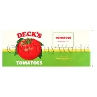 Dolls House Miniature Decks Tomatoes Label (1940s)