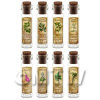 1/12th scale - Dolls House Apothecary Long Herb Colour Label And Bottle Set 7