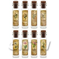 1/12th scale - Dolls House Apothecary Long Herb Colour Label And Bottle Set 8