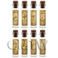 Dolls House Apothecary Long Herb Sepia Label And Bottle Set 1