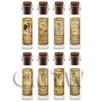 Dolls House Apothecary Long Herb Sepia Label And Bottle Set 2
