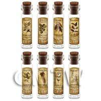 Dolls House Apothecary Long Herb Sepia Label And Bottle Set 3
