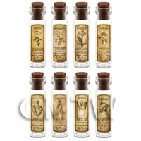 Dolls House Apothecary Long Herb Sepia Label And Bottle Set 4