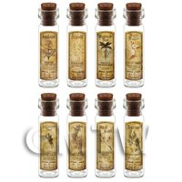 Dolls House Apothecary Long Herb Sepia Label And Bottle Set 5