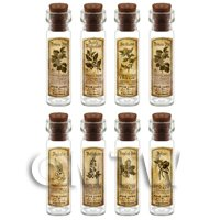 Dolls House Apothecary Long Herb Sepia Label And Bottle Set 7