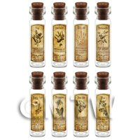 Dolls House Apothecary Long Herb Sepia Label And Bottle Set 8