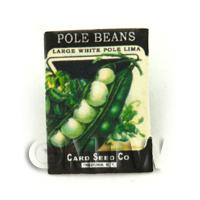 Dolls House Miniature Garden White Pole Beans Seed Packet