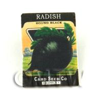 Dolls House Miniature Garden Round Black Radish Seed Packet