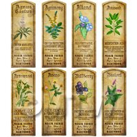 Dolls House Herbalist/Apothecary Long Herb Colour Label Set 1