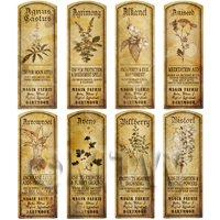Dolls House Herbalist/Apothecary Long Herb Sepia Label Set 1