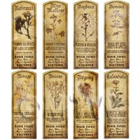 Dolls House Herbalist/Apothecary Long Herb Sepia Label Set 2