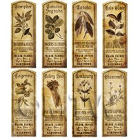Dolls House Herbalist/Apothecary Long Herb Sepia Label Set 3