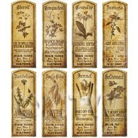 Dolls House Herbalist/Apothecary Long Herb Sepia Label Set 4