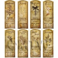 Dolls House Herbalist/Apothecary Long Herb Sepia Label Set 5