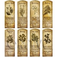 Dolls House Herbalist/Apothecary Long Herb Sepia Label Set 6