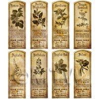 Dolls House Herbalist/Apothecary Long Herb Sepia Label Set 7