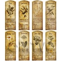 Dolls House Herbalist/Apothecary Long Herb Sepia Label Set 8