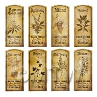 Dolls House Herbalist/Apothecary Short Herb Sepia Label Set 1