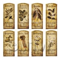 Dolls House Herbalist/Apothecary Short Herb Sepia Label Set 3