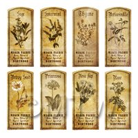 Dolls House Herbalist/Apothecary Short Herb Sepia Label Set 8