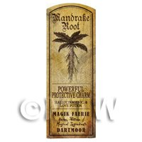 Dolls House Herbalist/Apothecary Mandrake Root Herb Long Sepia Label