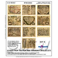1/12th scale - Set Of 10 Dolls House Miniature Old Maps From The 1500s  (OMS5)