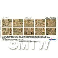Dolls House Miniature 10 Aged UK County Maps John Speed 1610 Set 1