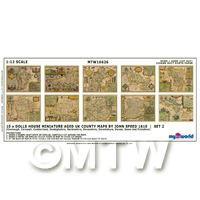 Dolls House Miniature 10 Aged UK County Maps John Speed 1610 Set 2