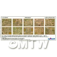 Dolls House Miniature 10 Aged UK County Maps John Speed 1610 Set 3