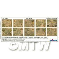 Dolls House Miniature 10 Aged UK County Maps John Speed 1610 Set 4