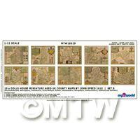 Dolls House Miniature 10 Aged UK County Maps John Speed 1610 Set 5