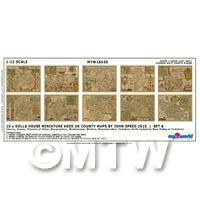 Dolls House Miniature 10 Aged UK County Maps John Speed 1610 Set 6