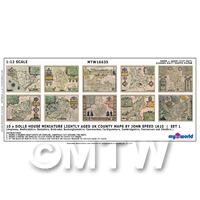Dolls House Miniature 10 UK County Maps John Speed 1610 Set 1