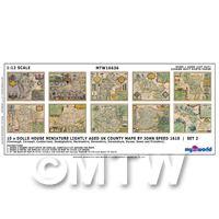 Dolls House Miniature 10 UK County Maps John Speed 1610 Set 2
