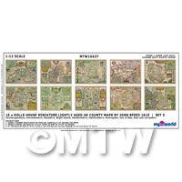 Dolls House Miniature 10 UK County Maps John Speed 1610 Set 3