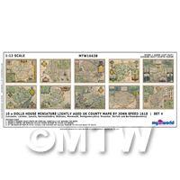 Dolls House Miniature 10 UK County Maps John Speed 1610 Set 4
