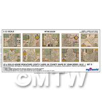 Dolls House Miniature 10 UK County Maps John Speed 1610 Set 5